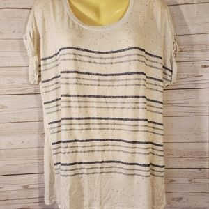 Apt9 White Striped Shimmery Top